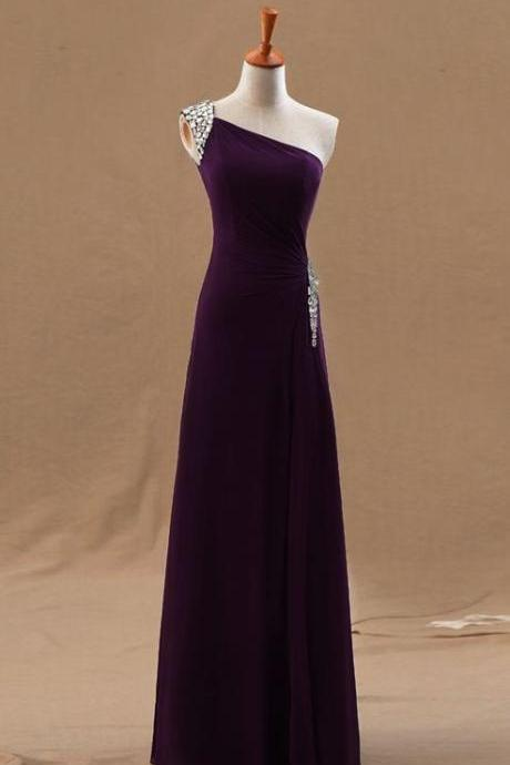 One Shoulder Prom Dress,Dark Purple Prom Dress,Chiffon Prom Dress, Beaded Prom Dress, Floor Length Prom Dress, Cheap Prom Dress, Prom Dresses 2017,Sheath Prom Dress