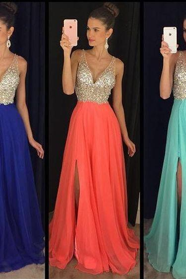 Sparkly Prom Dress,Deep V Neck Party Dress,Beaded Prom Dress, Split Prom Dress, Chiffon Prom Dress,Floor Length Prom Dress, Cheap Prom Dress, 2017evening Dress