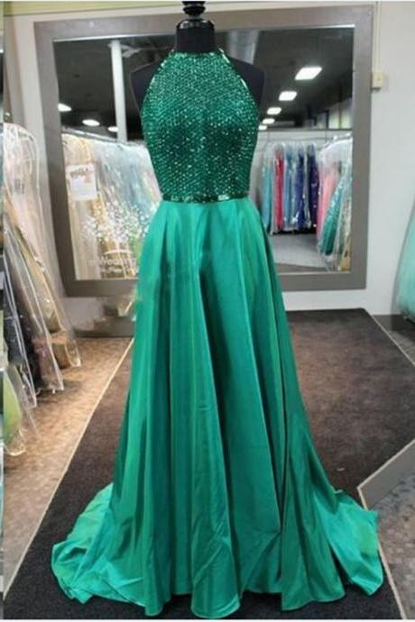 Green Prom Dress,Sequins Prom Dress,Halter Prom Dress, Floor Length Prom Dress, Cheap Prom Dress, Prom Dresses 2017,chiffon prom Dress