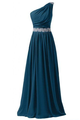 One Shoulder Prom Dress,Chiffon Prom Dress, Beaded Prom Dress, Floor Length Prom Dress, Cheap Prom Dress, 2017 Evening Dress,Party Dress
