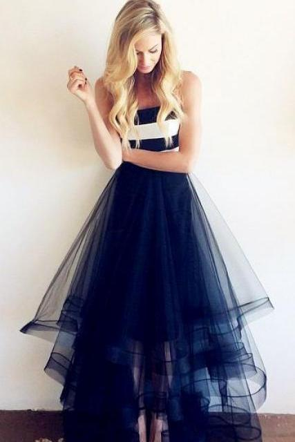 Strapless Dress,Layered Party Dress,Organza Prom Dress, Sexy Party Dress, Ankle Length Prom Dress, Cheap Prom Dress, 2017 Evening Dress