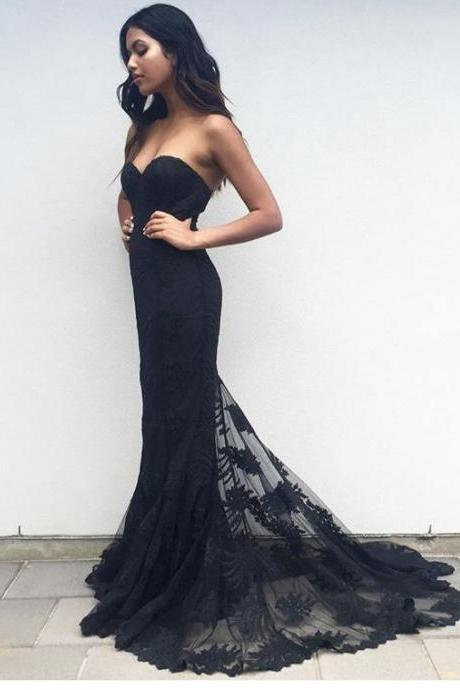 Sweetheart prom dresses,new fashion evening gowns,lace prom dress,backless evening gowns