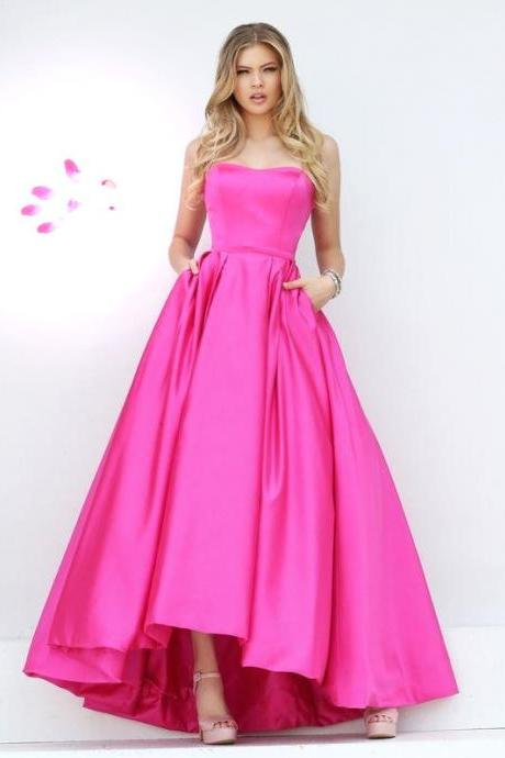 Strapless Prom Dress,Satin Prom Dress,A-Line Prom Dress Floor Length Prom Dress, Cheap Prom Dress, 2017 Prom Dresses,Sexy Party Dress