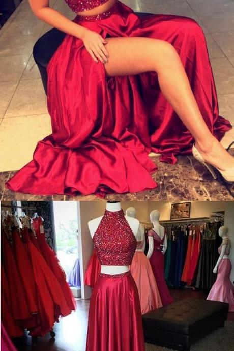 Sparkly Sequins Prom Dress,Two Pieces Prom Dress,Red Split Prom Dress,Satin Prom Dress, Maxi Prom Dress, Cheap Party Dress, 2017evening Dress