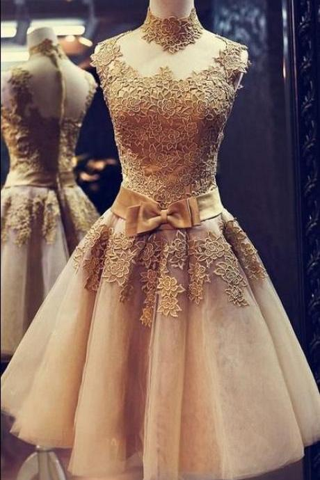 Champagne Prom Dress,High Collar Prom Dress, Applique Prom Dress,Bowknot Prom Dress,Mini Prom Dress, Cheap Party Dress, 2017 Evening Dress