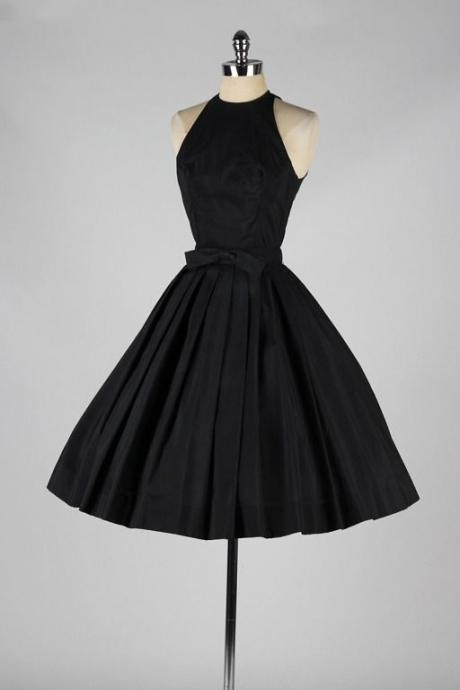 Black Halter Short Homecoming Dress Featuring Bow Accent Belt Featuring Open Back, Formal Dress