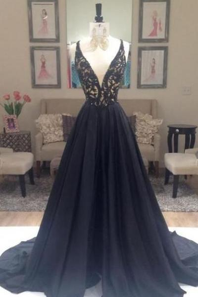 Lace Prom Dress,V Neck Prom Dress,A Line Prom Dress,Maxi Prom Dress, Sexy Evening Dress,Cheap Prom Dress, Prom Dresses 2017