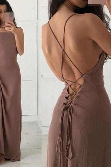 Spaghetti Prom Dress,Backless Prom Dress,Bodycon Prom Dress,Fashion Prom Dress, Cheap Party Dress, 2017 Evening Dress
