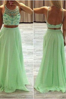 Mint Green Prom Dress,Beaded Prom Dress, Backless Prom Dress, Cheap Prom Dress, Fashion Party Dress,Prom Dresses 2017