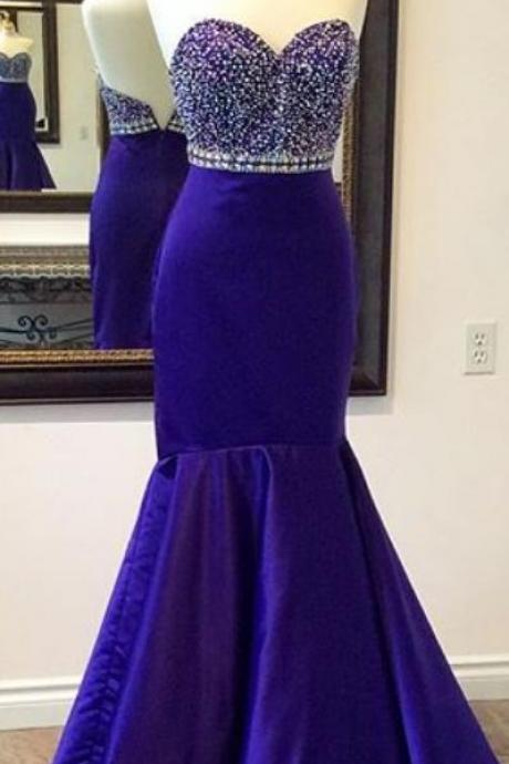 Beaded Prom Dress,Mermaid Prom Dress,Royal Blue Prom Dress,Sweetheart Prom Dress,Fashion Prom Dress, Cheap Party Dress, 2017 Evening Dress
