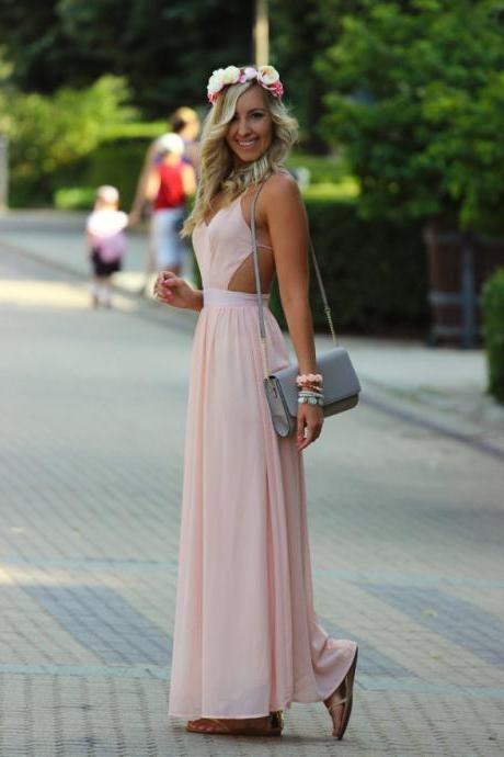 Pink Plunge V Long A-Line Evening Dress Featuring Cutout Detailing and Open Back