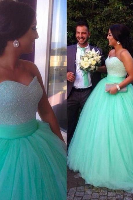 Beaded Ball Gown,Tulle Prom Dress,Sweetheart Wedding Dress,Fashion Prom Dress,Sexy Party Dress, 2017 New Evening Dress
