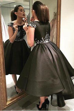 Beaded Prom Dress,A Line Prom Dress,Black Prom Dress,Fashion Prom Dress,Sexy Party Dress, 2017 New Evening Dress