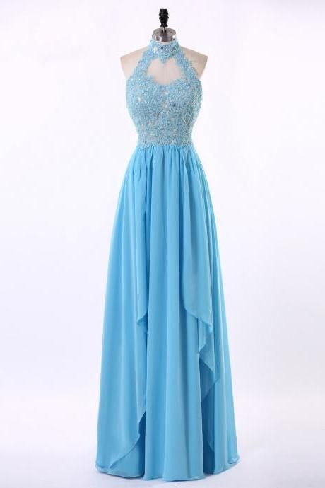 Lace Appliqués High Halter Neck Floor Length Chiffon A-Line Prom Dress Featuring Cutout Front, Evening Dress