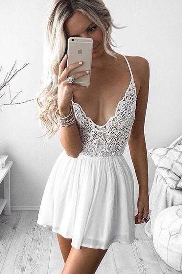 Spaghetti Mini Dress,Hollow Prom Dress,Lace Prom Dress,Fashion Prom Dress,Sexy Party Dress, 2017 New Evening Dress