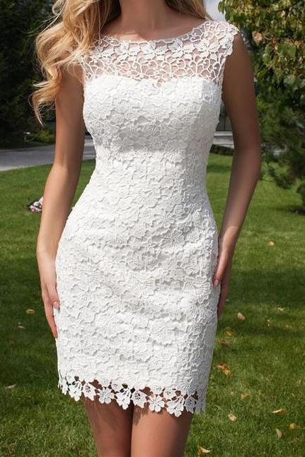Custom Made Illusion Neckline Lace Short Evening Dress, Homecoming Dress, Cocktail Dresses, Graduation Dresses