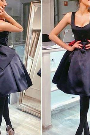 Bowknot Prom Dress,Little Ball Gown,Satin Homecoming Dress,Fashion Prom Dress,Sexy Party Dress, 2017 New Evening Dress