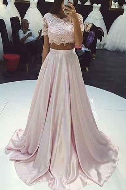 Two Pieces Prom Dress,A Line Prom Dress,Lace Prom Dress,Fashion Prom Dress,Sexy Party Dress, New Style Evening Dress