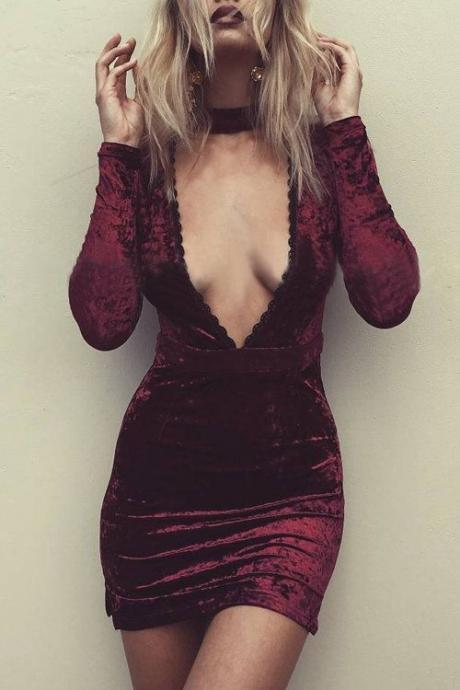 Long Sleeve Prom Dress,Deep V Neck Prom Dress,Mini Prom Dress,Fashion Bridal Dress,Sexy Party Dress, New Style Evening Dress