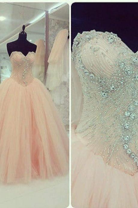 Sweetheart Ball Gown,Beaded Prom Dress,Illusion Prom Dress,Fashion Prom Dress,Sexy Party Dress, New Style Evening Dress