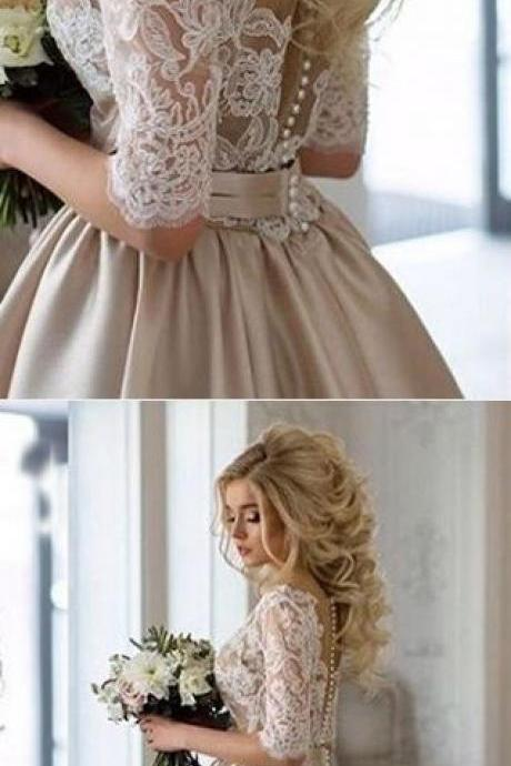 Middle Sleeve Prom Dress,Lace Prom Dress,Satin Prom Dress,Fashion Bridal Dress,Sexy Party Dress, New Style Evening Dress