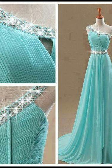 Beaded Prom Dress,One Shoulder Prom Dress,Chiffon Prom Dress,Fashion Prom Dress,Sexy Party Dress, New Style Evening Dress