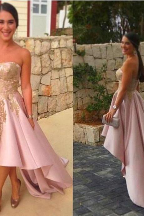 Pink Prom Dress,Applique Prom Dress,Satin Prom Dress,Fashion Prom Dress,Sexy Party Dress, New Style Evening Dress