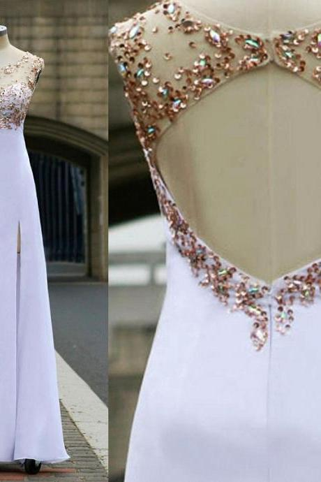 Beaded Prom Dress,Backless Prom Dress,Split Prom Dress,Fashion Prom Dress,Sexy Party Dress, New Style Evening Dress
