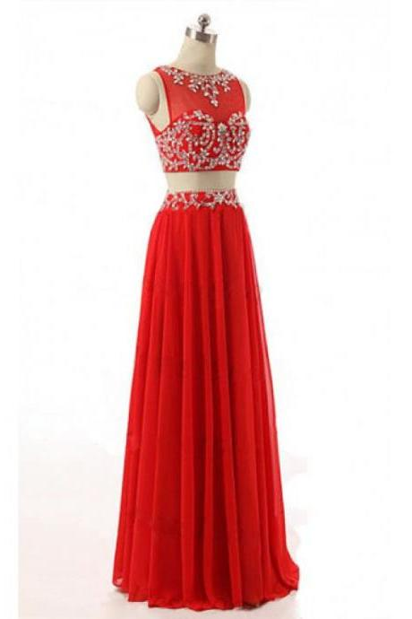 Red Prom Dress,Beaded Prom Dress,Two Pieces Prom Dress,Fashion Prom Dress,Sexy Party Dress, New Style Evening Dress