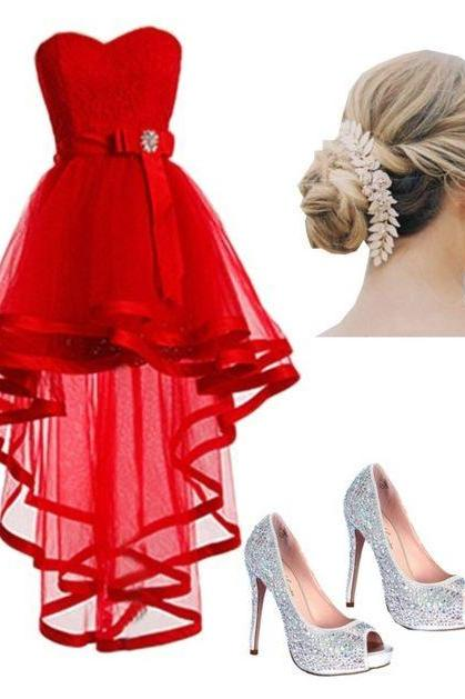 Charming Prom Dress,Red Prom Dress,High Low Prom Dress,Fashion Homecoming Dress,Sexy Party Dress, New Style Evening Dress