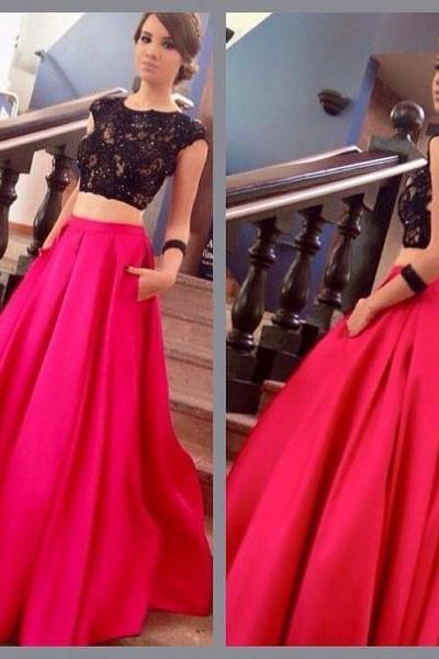 Two Pieces Prom Dress,Backless Prom Dress,Lace Prom Dress,Fashion Prom Dress,Sexy Party Dress, New Style Evening Dress