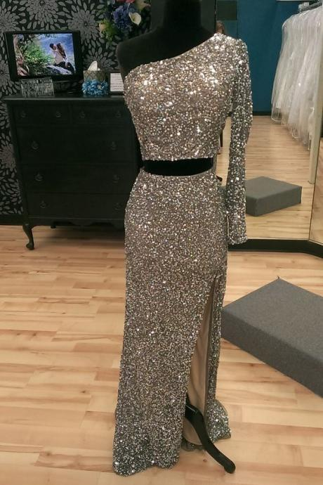 Sparkly Prom Dress,One Sleeve Prom Dress,Two Pieces Prom Dress,Fashion Prom Dress,Sexy Party Dress, New Style Evening Dress