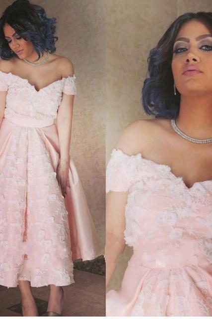 Pink Prom Dress,Lace Prom Dress,Off The Shoulder Prom Dress,Fashion Homecoming Dress,Sexy Party Dress, New Style Evening Dress