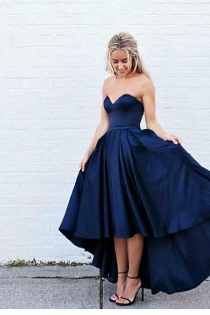 Dark Blue Prom Dress,High Low Prom Dress,Sweetheart Prom Dress,Fashion Prom Dress,Sexy Party Dress, New Style Evening Dress