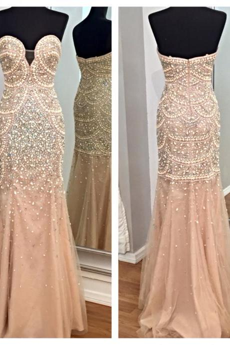 Mermaid Prom Dress,Illusion Prom Dress,Beaded Prom Dress,Fashion Prom Dress,Sexy Party Dress, New Style Evening Dress