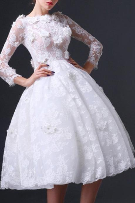 Floral Prom Dress,Lace Prom Dress,White Prom Dress,Fashion Homecoming Dress,Sexy Party Dress, New Style Evening Dress