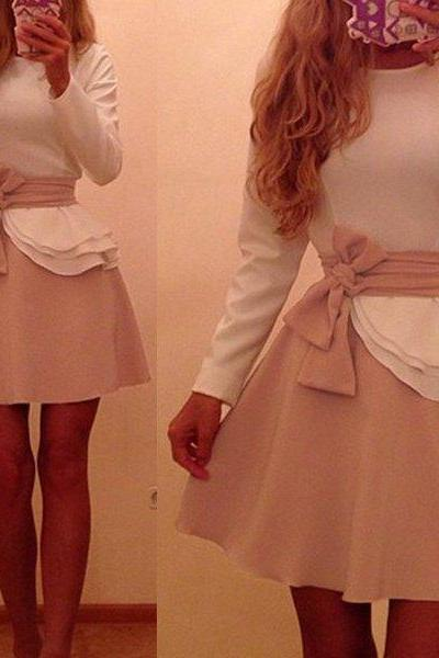 Bowknot Prom Dress,Long Sleeve Prom Dress,Chiffon Prom Dress,Fashion Homecoming Dress,Sexy Party Dress, New Style Evening Dress