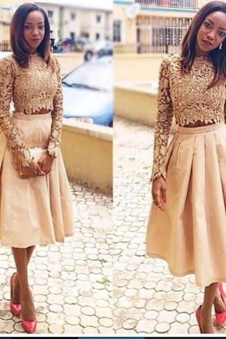 Lace Prom Dress,Two Pieces Prom Dress,Long Sleeve Prom Dress,Fashion Prom Dress,Sexy Party Dress, New Style Evening Dress