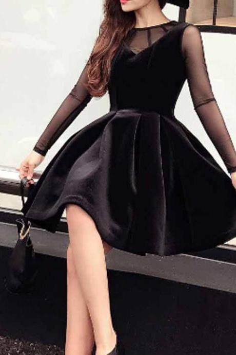 Black Prom Dress,Long Sleeve Prom Dress,A Line Prom Dress,Fashion Homecoming Dress,Sexy Party Dress, New Style Evening Dress