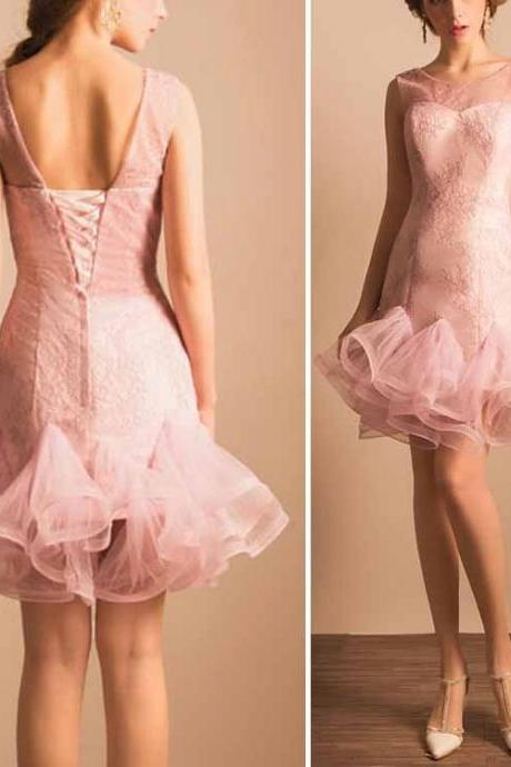 Pink Prom Dress,Pencil Prom Dress,Flouncing Prom Dress,Fashion Homecoming Dress,Sexy Party Dress, New Style Evening Dress