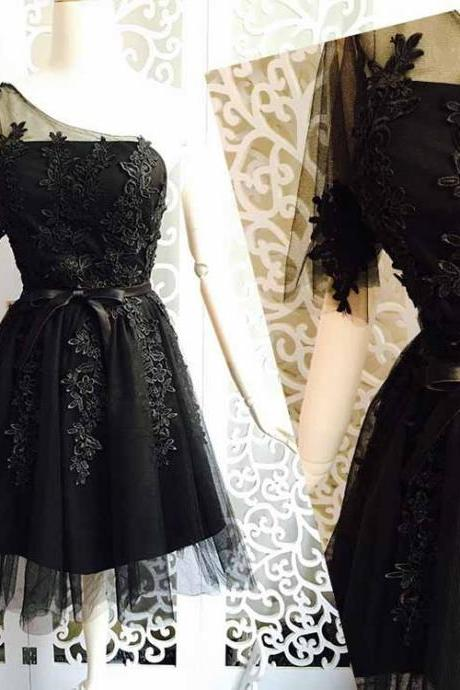 One Sleeve Prom Dress,Applique Prom Dress,Black Prom Dress,Fashion Homecoming Dress,Sexy Party Dress, New Style Evening Dress