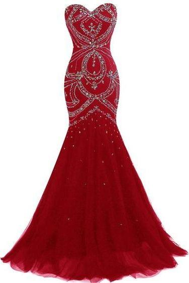 Sweetheart Prom Dress,Beaded Prom Dress,Mermaid Prom Dress,Fashion Prom Dress,Sexy Party Dress, New Style Evening Dress