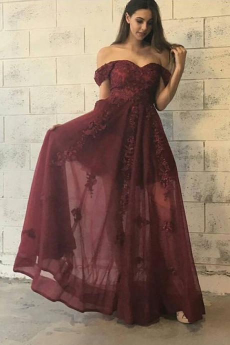 Off The Shoulder Prom Dress,Illusion Prom Dress,Applique Prom Dress,Fashion Prom Dress,Sexy Party Dress, New Style Evening Dress