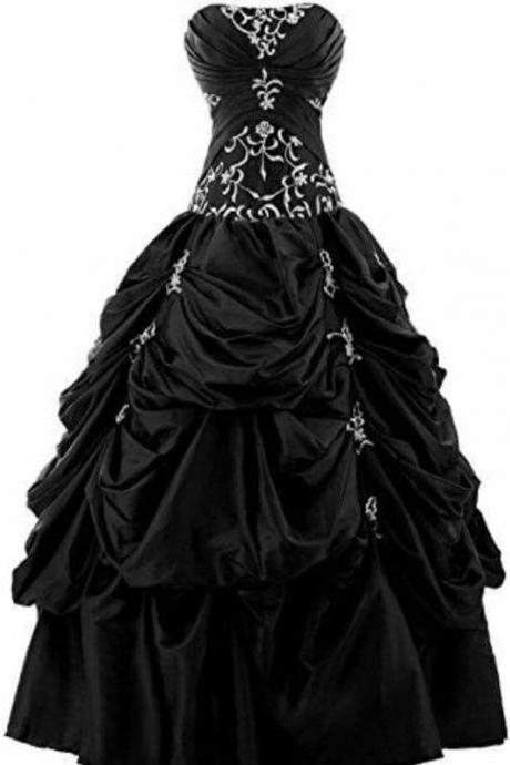 Modest Quinceanera Dress,Black Ball Gown,Bodice Prom Dress,Fashion Prom Dress,Sexy Party Dress, New Style Evening Dress