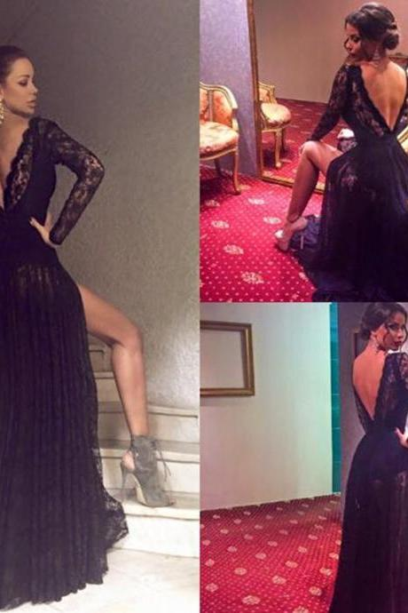 Backless Prom Dress,Long Sleeve Prom Dress,Lace Prom Dress,Fashion Prom Dress,Sexy Party Dress, New Style Evening Dress