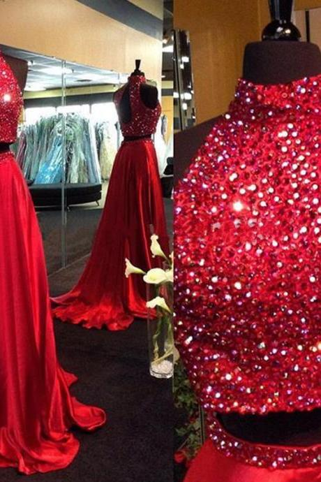 Beaded Prom Dress,Halter Prom Dress,Two Pieces Prom Dress,Fashion Prom Dress,Sexy Party Dress, New Style Evening Dress