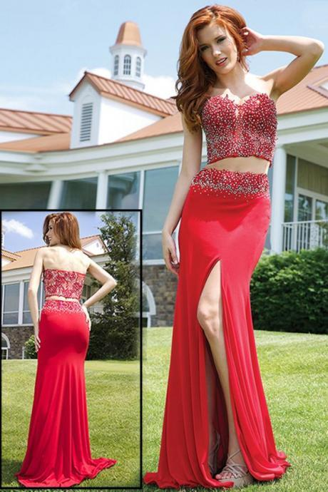Red Prom Dress,Beaded Prom Dress,Split Prom Dress,Fashion Prom Dress,Sexy Party Dress, New Style Evening Dress
