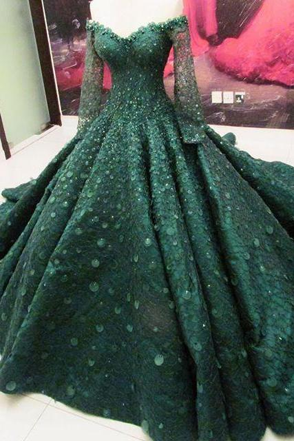 Modest Quinceanera Dress,Beaded Prom Dress,Long Sleeve Prom Dress,Fashion Prom Dress,Sexy Party Dress, New Style Evening Dress