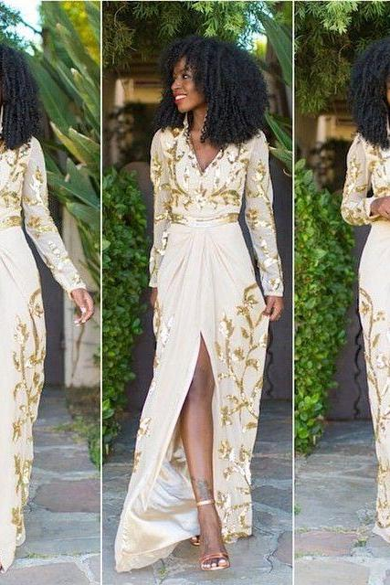 Charming Prom Dress,Split Prom Dress,Long Sleeve Prom Dress,Fashion Prom Dress,Sexy Party Dress, New Style Evening Dress