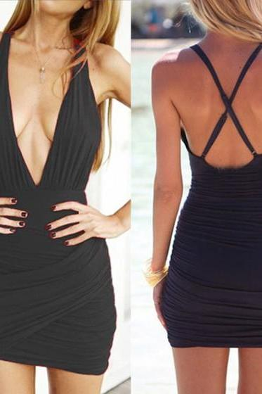 Deep V Neck Prom Dress,Backless Prom Dress,Mini Prom Dress,Fashion Homecoming Dress,Sexy Party Dress, New Style Evening Dress